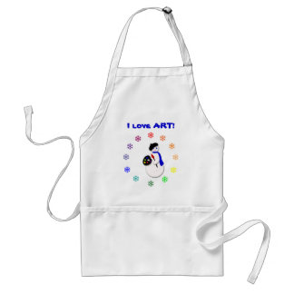 Childrens Snowman Artist w Snowflake Colorwheel Adult Apron