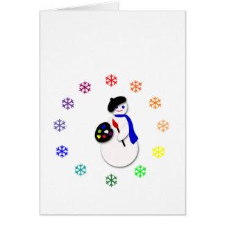 Childrens Snowman Artist w Snowflake Colorwheel Card