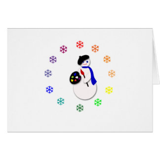 Childrens Snowman Artist w Snowflake Colorwheel Card