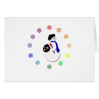 Childrens Snowman Artist w Snowflake Colorwheel Cards