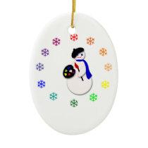 Childrens Snowman Artist w Snowflake Colorwheel Ceramic Ornament
