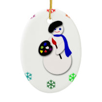Childrens Snowman Artist w Snowflake Colorwheel Ceramic Ornament