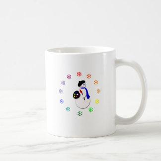 Childrens Snowman Artist w Snowflake Colorwheel Mugs