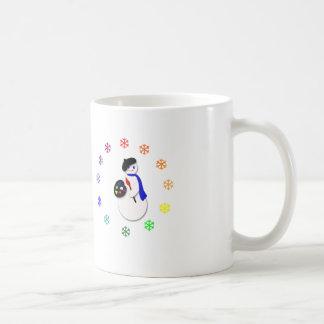 Childrens Snowman Artist w Snowflake Colorwheel Coffee Mug