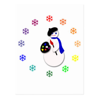 Childrens Snowman Artist w Snowflake Colorwheel Postcard