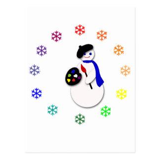 Childrens Snowman Artist w Snowflake Colorwheel Post Card