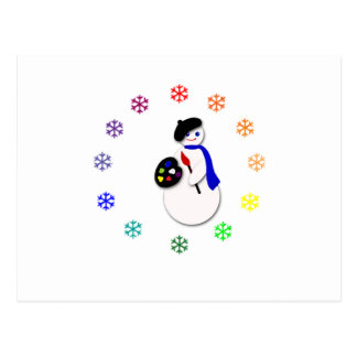 Childrens Snowman Artist w Snowflake Colorwheel Post Cards