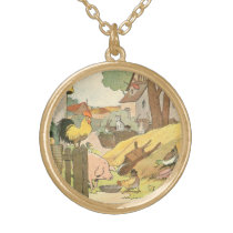 Children's Story Book Farm Animals Gold Plated Necklace