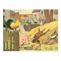 Children's Story Book Farm Animals Postcard