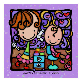 Childrens Stylist Hair Salon Art PURPLE Poster