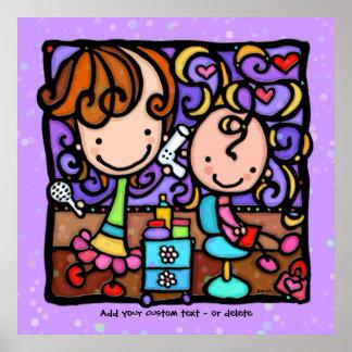 Childrens Stylist Hair Salon Art PURPLE Poster