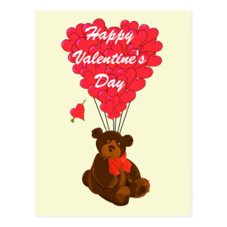 Childrens teddy bear Valentines Postcard