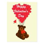 Childrens teddy bear Valentines Postcards