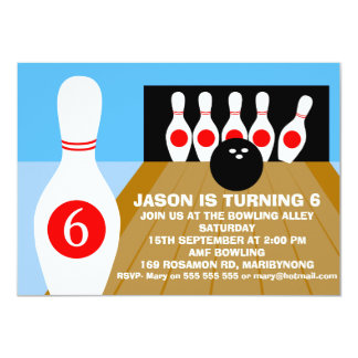 Children's Ten-Pin Bowling Birthday Invitation