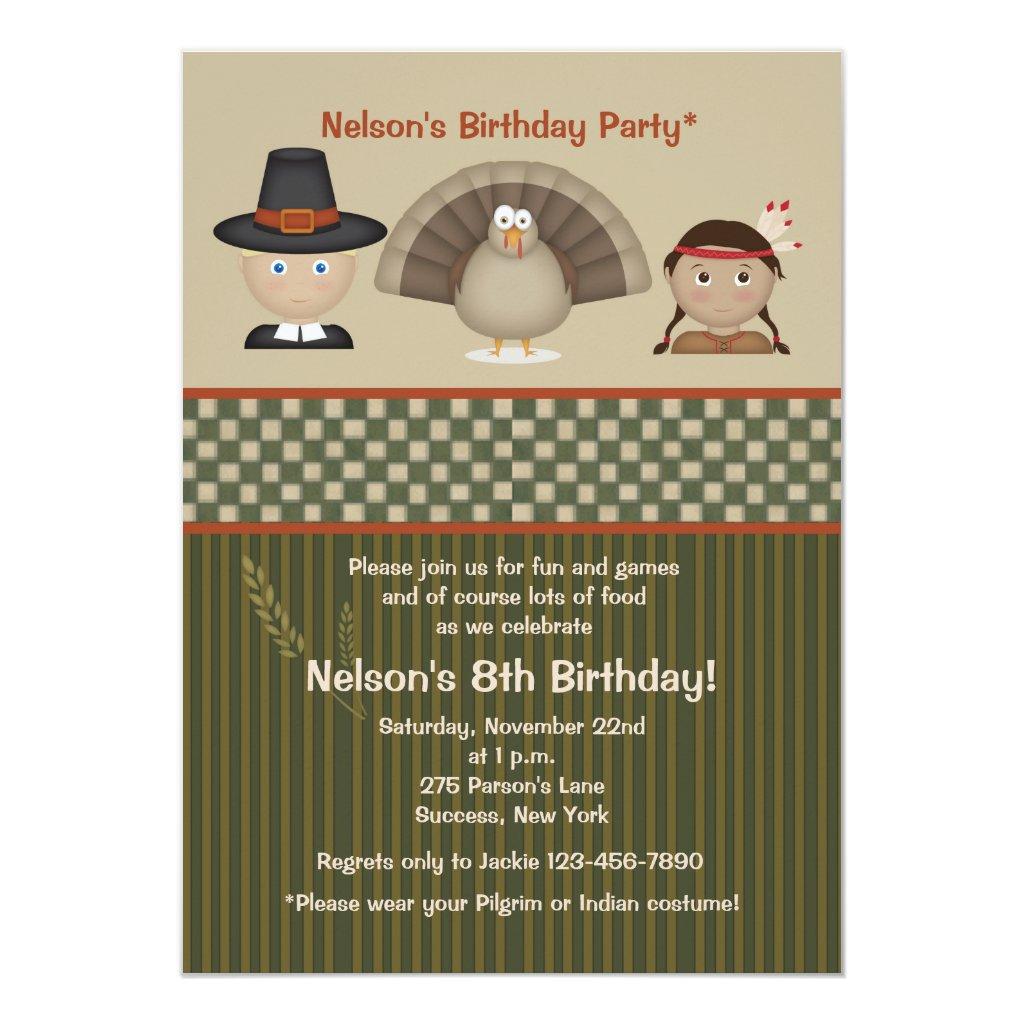 Children's Thanksgiving Birthday Party Invitation