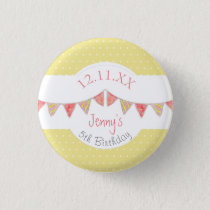 Children's traditional yellow bunting birthday button