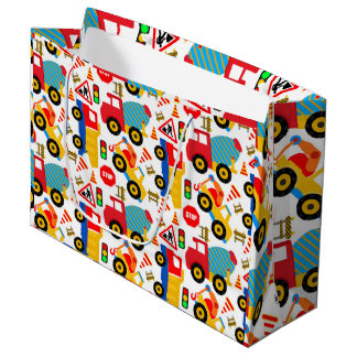 Children's Trucks Custom Gift Bag - Large, Glossy Large Gift Bag
