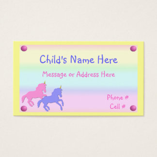 Childrens Unicorn Calling Card