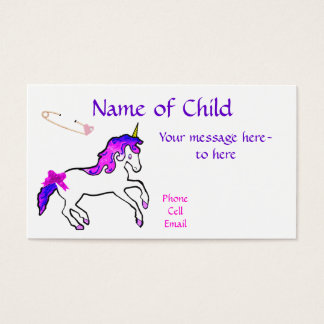 Children's Unicorn Profile Card