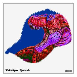 CHILDREN'S WALL DECAL-BASEBALL CAP W.DINOSAUR WALL STICKER