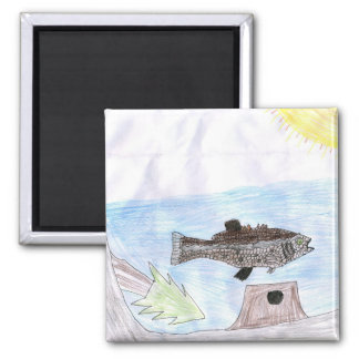 Children's Winning Artwork: bass 2 Inch Square Magnet