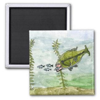 Children's Winning Artwork: largemouth bass 2 Inch Square Magnet
