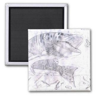 Children's Winning Artwork: northern pike 2 Inch Square Magnet