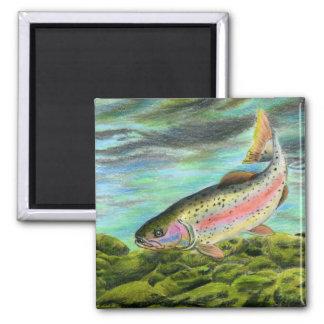 Children's Winning Artwork: rainbow trout 2 Inch Square Magnet