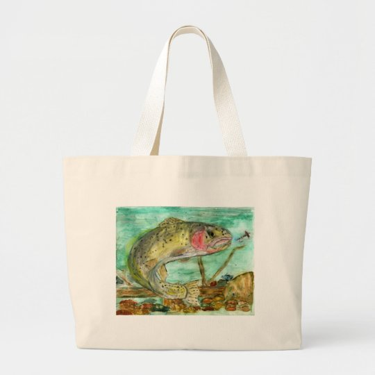 Children's Winning Artwork: trout Large Tote Bag