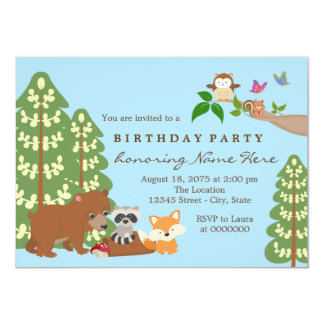 "Childrens Woodland Birthday Party 4.5"" X 6.25"" Invitation Card"