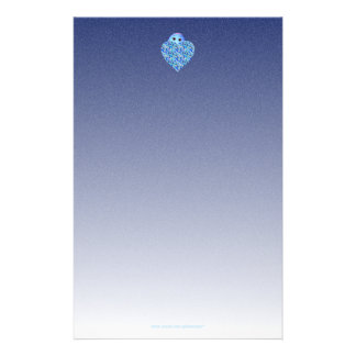 Children's Writing Paper with Blue Heart Customized Stationery