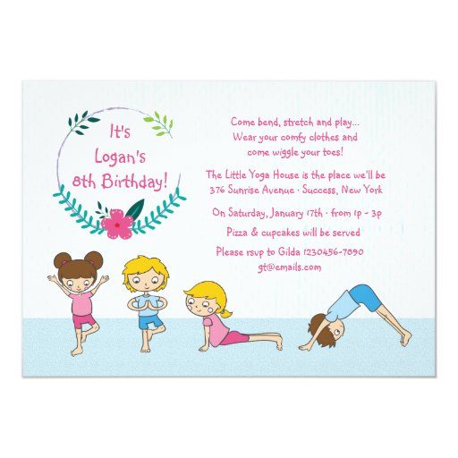 Personalized yoga birthday invitations custominvitations4u childrens yoga party invitation stopboris Gallery