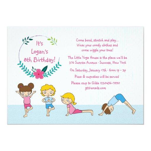 """Children's Yoga Party Invitation 5"""" X 7"""" Invitation Card ..."""