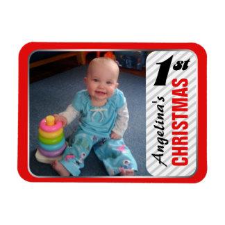 "Child's 1st Christmas 4""x3"" Photo Magnet"