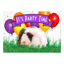 Child's 3rd Birthday Party Guinea Pig Balloons Invitation