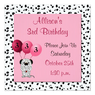 Childs 3rd Birthday Party Invitation Pink