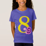 [ Thumbnail: Child's 8th Birthday, Cute Happy Pink/Purple Snail T-Shirt ]