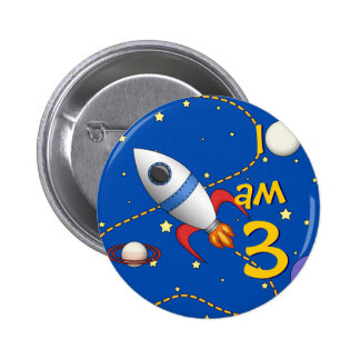 Child's Age 3 Space Rocketship in Orbit Cartoon Button