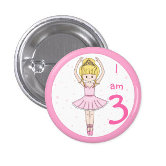 Child's Age Ballerina Girl in Pink Button Badge