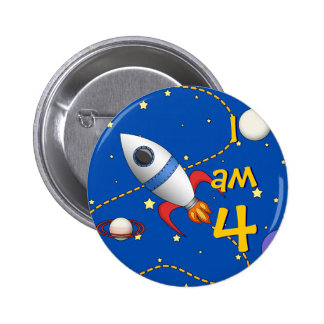 Child's Age Space Rocketship in Orbit Cartoon Pinback Button