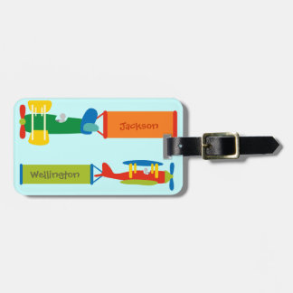 Child's airplane luggage tag (personalize)