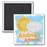 Childs Artwork (personalize) 2 Inch Square Magnet