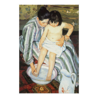 Child's Bath by Mary Cassatt Vintage Impressionism Poster