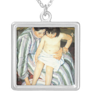 Child's Bath by Mary Cassatt Vintage Impressionism Silver Plated Necklace