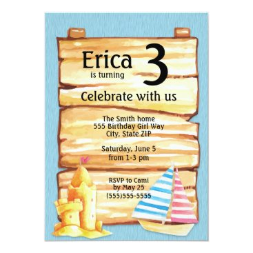 Beach Themed Child's Beach Sandcastle Birthday Party Invitation