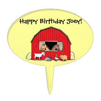 Child's Birthday Farm Animal Cake Pick Cake Toppers