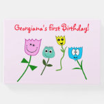 [ Thumbnail: Child's Birthday Guest Book With Happy Flowers ]