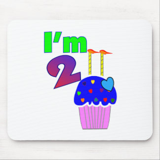 """Childs Birthday """"I'm 2""""  Adorable Cupcake Design Mouse Pad"""