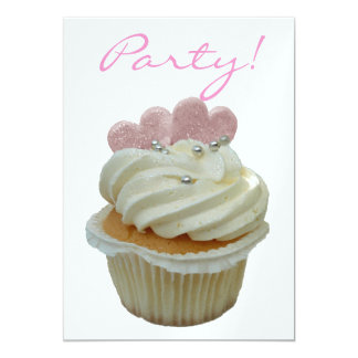 Child's Birthday Party Cupcake  Invitation