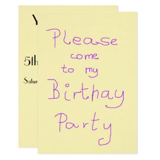 Child's birthday party invite